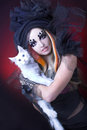 Young Lady With Cat. Royalty Free Stock Photography - 53744547