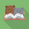 Cartoon Figures Are Reading Book Royalty Free Stock Image - 53746596