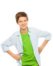 Cute Young Teen Boy Smiling With Hands On Waist Stock Photos - 53755703