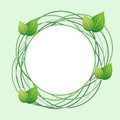 Creative Eco Frame With Circles And Fresh Leaves Royalty Free Stock Images - 53755889