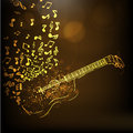 Illustration Of A Golden Guitar With Musical Notes. Royalty Free Stock Images - 53777809