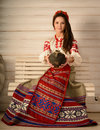 Young Woman In Slavic Belarusian National Original Suit Studio Royalty Free Stock Images - 53780059