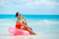Beautiful Woman With Inflatable Life Buoy Stock Photography - 53781982