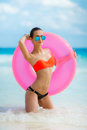 Beautiful Woman With Inflatable Life Buoy Stock Photo - 53781990