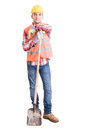 Happy Construction Worker Resting On The Shovel Royalty Free Stock Images - 53782629