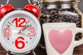 Coffee Time,alarm Clock With White Coffee Cup And Coffee Bean In Royalty Free Stock Photography - 53787967