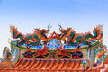 Dragon Statue On China Temple Roof Royalty Free Stock Image - 53827876
