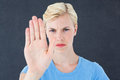Stern Woman Gesturing With Her Hand Royalty Free Stock Photo - 53836825