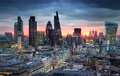 City Of London, Business And Banking Aria. London S Panorama In Sun Set. View From The St. Paul Cathedral Stock Images - 53843874