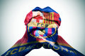 Man Hands Patterned With The Flag Of The Futbol Club Barcelona Stock Photography - 53849342