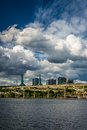 View Of Dramatic Clouds Over The Williamette River, In Portland, Royalty Free Stock Image - 53851386