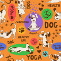 Seamless Pattern With Dog Doing Yoga Position. Stock Image - 53863241