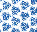 Vintage Shabby Chic Seamless Pattern With Blue Flowers And Leaves. Vector Royalty Free Stock Images - 53866049