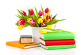 Bunch Of Spring Tulips And Books Stock Photos - 53867313