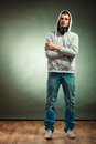Hooded Man With Big Headphones On Neck Stock Images - 53885774