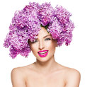 Fashion Model Girl With Lilac Flowers Hairstyle Stock Image - 53887271