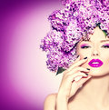 Girl With Lilac Flowers Hairstyle Royalty Free Stock Photography - 53887457
