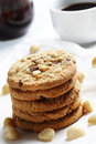 The Chocolate Chip And Macadamia Cookies On Dish Set For Coffee Break Royalty Free Stock Photo - 53893435