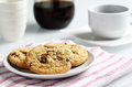 The Chocolate Chip And Macadamia Cookies On Dish Set For Coffee Break Royalty Free Stock Photo - 53893465