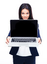 Happy Businesswoman Presenting Laptop Royalty Free Stock Photo - 53905385