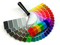 Roller Brush And Color Guide Palette In Rainbow Colors. Stock Photos - 53910043