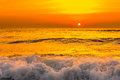 Golden Sunrise Sunset Over The Sea Ocean Waves Stock Photos - 53910843