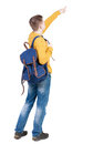Back View Of  Pointing Young Men With Backpack. Royalty Free Stock Photos - 53911608