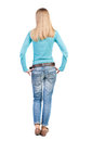 Back View Of Standing Young Beautiful  Woman In Jeans. Royalty Free Stock Photography - 53911707