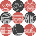 Asian Food Black And Red Icons Stock Photo - 53923560