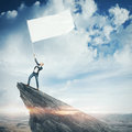Man With Blank Flag Stock Image - 53925281
