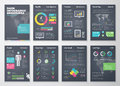 Colorful Flat Infographic Brochures With Dark Background Royalty Free Stock Photography - 53942377