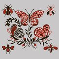 Pattern With Black And Red Butterflies Royalty Free Stock Photos - 53944198