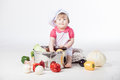 Chef Girl Preparing Healthy Food Royalty Free Stock Photo - 53945825