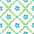 Seamless Pattern With Hand Painted Watercolor Flowers And Brunches. Forget-me-not Flowers Vector Texture Royalty Free Stock Image - 53947736