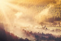 Countryside Sunrise And Mist Royalty Free Stock Photography - 53949917