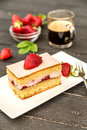 Piece Of Strawberry Cake Stock Images - 53962074