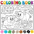 Coloring Book With Two Happy Pigs Royalty Free Stock Image - 53981976