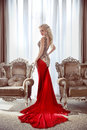 Elegant Lady. Beautiful Blond Woman Model In Fashion Dress With Stock Image - 53988941