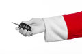 Santa Claus Theme: Santa S Hand Holding The Keys To A New Car On A White Background Royalty Free Stock Photography - 53989357
