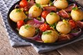 Tasty Potatoes With Onion, Tomato And Bacon Royalty Free Stock Photos - 53991328