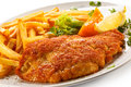 Fried Pork Chop And French Fries Royalty Free Stock Photo - 54009145