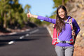 Travel Hitchhiker Woman Backpacking Hitchhiking Royalty Free Stock Image - 54020216
