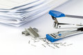 Stapler And Pile Of Papers. Royalty Free Stock Images - 54025389