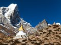 Tabuche Peak And Stupa On The Way To Everest Base Camp Royalty Free Stock Photos - 54028088