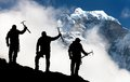 Silhouette Of Men With Ice Axe In Hand And Mountains Stock Photo - 54028470