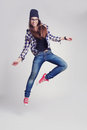 Dancing Hipster Girl In Glasses And Black Beanie Royalty Free Stock Photos - 54028558