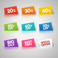 Set Of Colorful Sale Labels In Pocket Stock Photography - 54033602