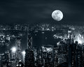 Hong Kong Skyline At Full Moon Night Royalty Free Stock Photography - 54035267