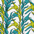Vector Seamless Pattern With Blue And Green Leaves Stock Photo - 54036950