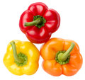 Red, Yellow And Orange Peppers Isolated On The White Background Stock Photos - 54040993